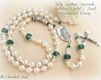 Birthstone Swarovski Crystal & Pearl Baby Baptism Guardian Angel Rosary