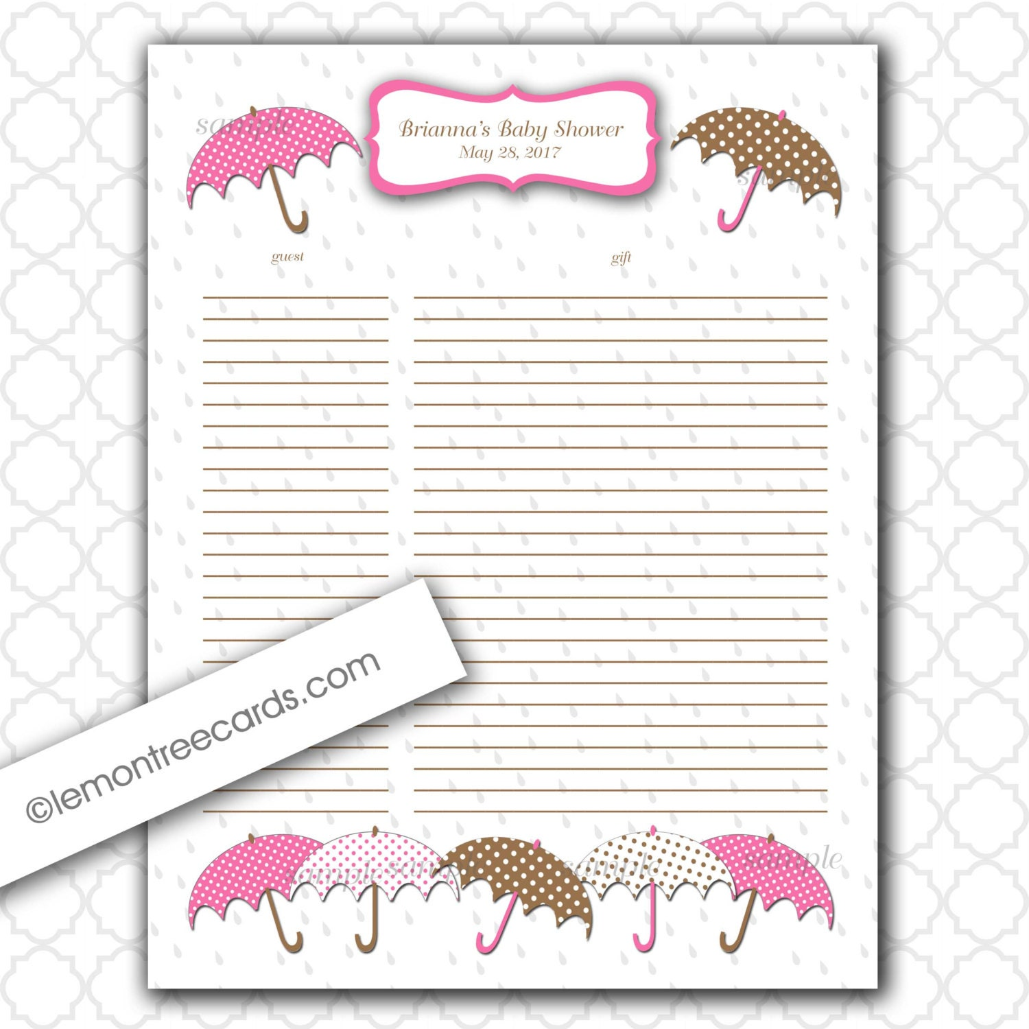 Bridal Shower Gift Record Template : Baby+Shower+Gift+List Baby Shower Gift List / Pink Brown Dots ...