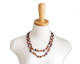 Vintage 50s Double Strand Plastic Bead Necklace - Faceted Brown - West Germany