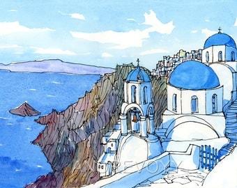 Santorini Oia 5th Greece art print from an original watercolour painting