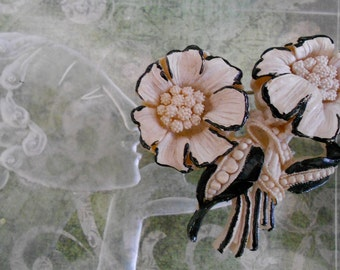 1930's Cream Colored Celluloid Floral Brooch