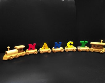 Name Trains (3 to 11) Painted Letters) Personalized Wooden Train Handcrafted in USA   Order today and receive within 5 days