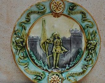Antique French Majolica Plate Joan of Arc