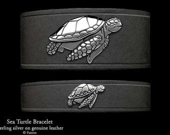 Sea Turtle Leather Bracelet Sterling Silver Sea Turtle on Leather Bracelet
