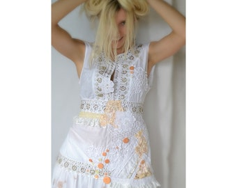 Bohemian style upcycled white cotton top
