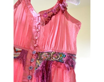 Romantic, upcycled bohemian chic style blouse