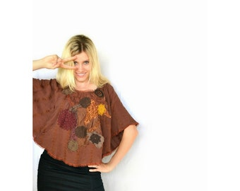 Brown cotton upcycled boho/hippie chic style blouse/tunic