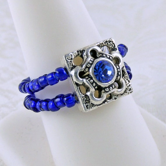 Blue Stretch Ring - Stretch Ring - Double Band Ring - Seed Bead Ring - Sapphire Blue Ring
