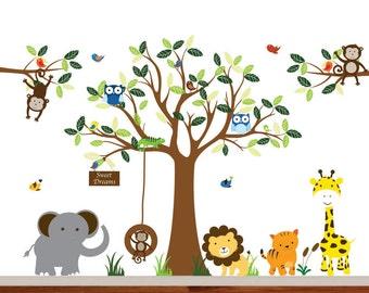 Jungle Vinyl Wall Decal Modern Tree Set with Monkeys, Owls, Birds, Giraffe, Lion, Elephant and Tiger