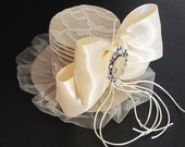 Champagne Color Top Hat Lace Covered with Ribbon Bow and Victorian Embellishment