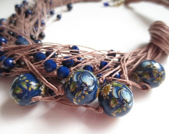 Statement Necklace, Asymmetric Necklace, Linen Necklace, Hand Painted Japanise Beads, Stone Beads , Natural Jewelry