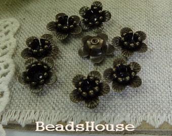 FF-600-Ant  10pcs - 10mm Antique Brass Flower Bead-Cap, Nickel Free