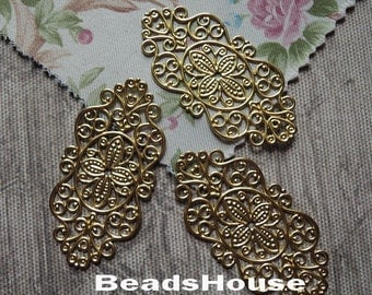 FF-600-00R   6pcs  Raw Brass Filigree  Finding Pendant /charms ,Nickel Free.