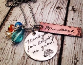 Personalized Teacher Necklace Hand Stamped Mixed metals Swarovski crystal cluster Sterling Silver Filled Copper name necklace rustic finish
