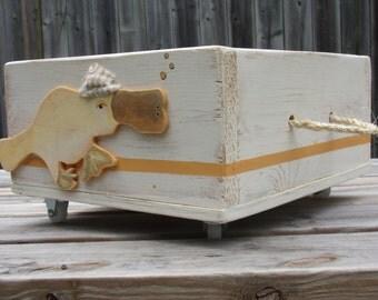 Aqua Chevron Whale Toy Box Seat Ottoman By Hilarycassady