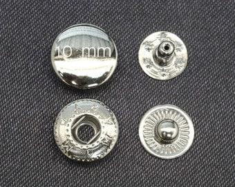 "100sets 10mm 3/8"" silver / antique brass / gunmetal cap spring SNAP button fastener vt2"