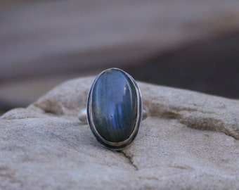Labradorite Gemstone Metalsmith Oxidized Sterling Silver Rustic Boho Earthy Woodland Large Stone Ring