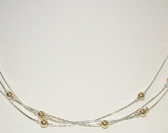 Sterling Silver 925 Chains with Gold Filled Beads 3 Strands Two Tone NECKLACE - Handcrafted - Free Shipping Worldwide