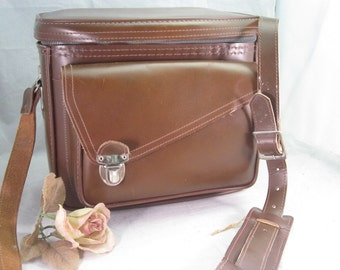 Vintage Brown Camera Case Cowhide and Faux Leather ... Super cool and clean!