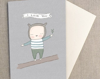 C6 Greeting Card - Little Bear Boy Balancing on a Log, I love you typography, Birthday Card, New Born Baby Card