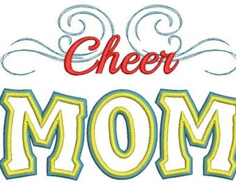 Cheer Mom Applique Machine Embroidery Design - 4 Sizes