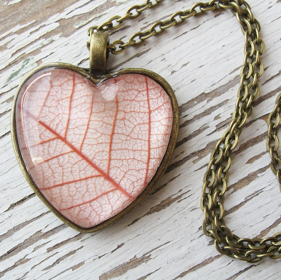 Coral Leaf Heart Necklace