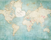 Wedding Guestbook, Alternative Wedding Guest Book, Signing Board, Wedding Decoration, World Map, Destination Wedding, Travel Map Art Print