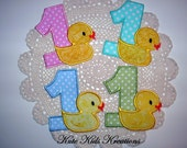 DIY Iron On or Sew On Applique/Patch, Birthday Year Number and Rubber Duck, Blue/Pink/Green/Aqua, Made to Order