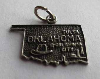 OKLAHOMA STATE Sterling Silver Charm or Pendant