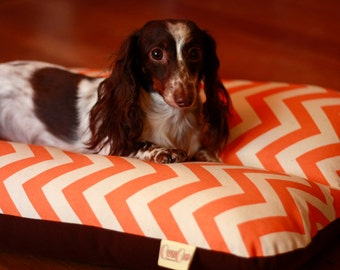 Orange Chevron Zig Zag, Bunbed, Dachshunds, Small Breed Dog Bed, Modern, Hot Dog Bed, Dachshund Bed, Dog Burrow Bed, Orange Dog Bed