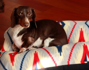 Dog Bed, Southwestern Geometric Gray Red Blue Plush Fleece, Bunbed, Small Dog Bed, Dachshund Bed, Burrow Bed, Bun Bed