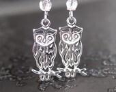 Sterling Silver Owl Earrings Owl Jewelry Woodland Owl Drop Earrings Silver Hook Owl Silhouette Dangle Earrings Dainty Fall Fashion