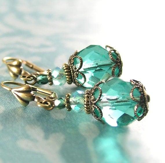 Sea Green Blue Earrings Antique Gold Brass Earrings Aqua Seafoam Dangle Earrings Vintage Aquamarine