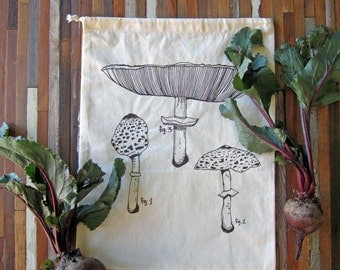 Reusable Produce Bags - Set of 2 - Screen Printed - Natural Cotton Produce Bags - Eco Friendly - Reusable and Washable - Mushroom - Handmade