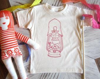Organic Cotton Toddler Shirt - Screen Printed American Apparel Kids T Shirt - Camping Lantern - Kids Clothes - Cotton Tee - You pick size