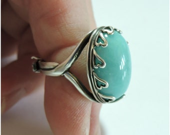 Amazonite Stone in Antique Silver Plated Adjustable Ring