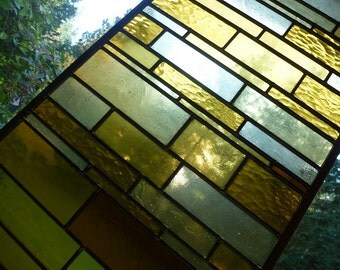 Stained Glass Amber Skyrise Panel - Abstract Suncatcher Window