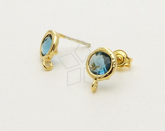 SI-549-GD / 2 Pcs - Tiny Bezel Round Cut Stud Earrings (Montana Blue), 16K Gold Plated, with .925 Sterling Silver Post / 7.6mm