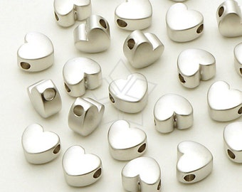 ME-162-MS / 4 Pcs - Tiny Chubby Heart Bead Centerpiece, Matte Silver Plated over Brass / 5.5mm x 4.8mm