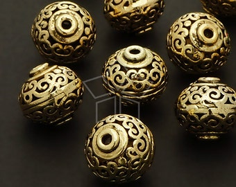 ME-139-AG / 2 Pcs - Hollow Carved Beads (Persian Pot), Antique Gold Plated over Brass / 12mm