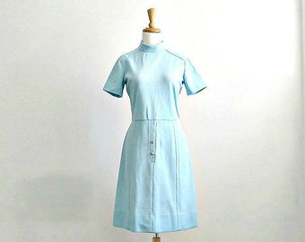 Vintage Shift Dress - mod 60s dress - shift dress - stewardess - sheath - knit dress - small medium