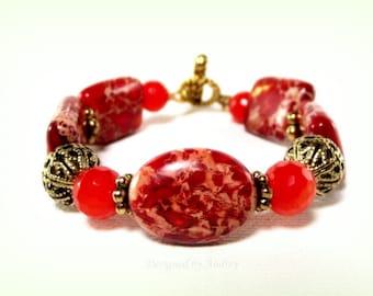 Bracelet in Orange Red Paprika Variscite and Jade - Red Bracelet