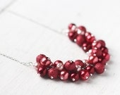 Red Wedding Bridesmaid Jewelry Pearl Cluster Necklace - Cherries