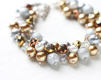 Shiny Gold, Silver and White Pearl Cluster Bracelet - Glamorous Bracelet as Bridesmaid Jewelry