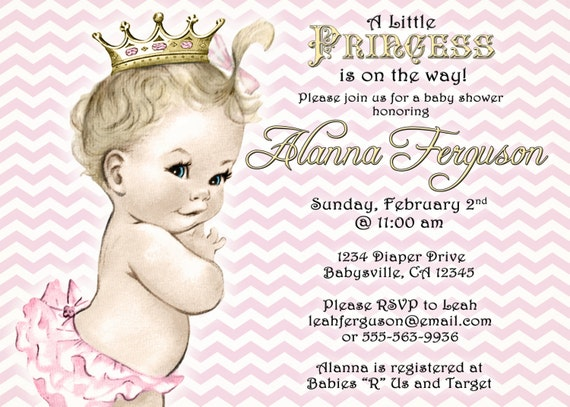Girl Baby Shower Invitation For Girl Pink and Gold