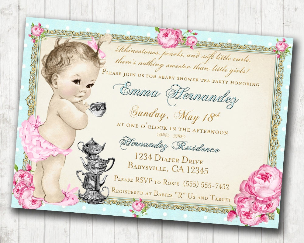 baby shower tea party invitation shabby chic floral vintage, invitation samples