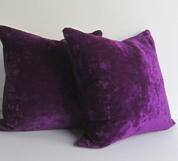 Purple Velvet Decorative Pillows : Set of Two Purple Velvet pillows Decorative Pillow Covers