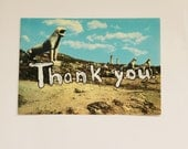 "Vintage postcard with Hand Painted ""Thank you."" 70's postcard from Greece"