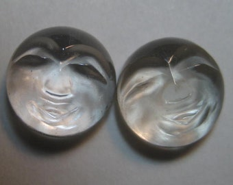Carved Natural  Crystal Face cabs ...   10 mm round x 5 mm  .....      a4322