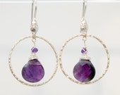 Amethyst Sterling Silver earrings with Hand Hammered hoops for SPIRITUAL STRENGTH